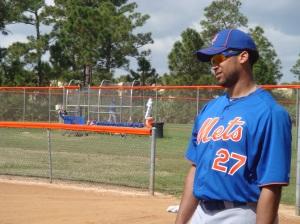 Pedro Beato in fielding drills