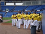 The University of Michigan baseball team huddles up Sunday prior to their game vs. Iona at the Mets' complex.