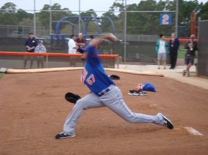 Johan Santana uncorks a pitch Sunday morning.