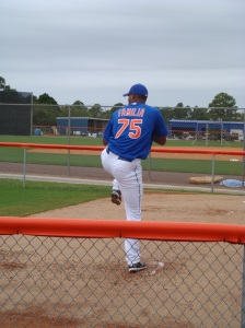 Jeurys Familia delivers a pitch in the bullpen.