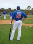 Ike Davis waits his turn to take live batting practice.