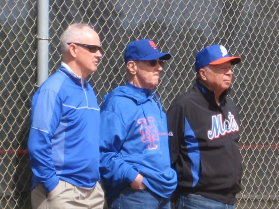 Sandy Alderson, Fred Wilpon and Saul Katz watch the day's proceedings.